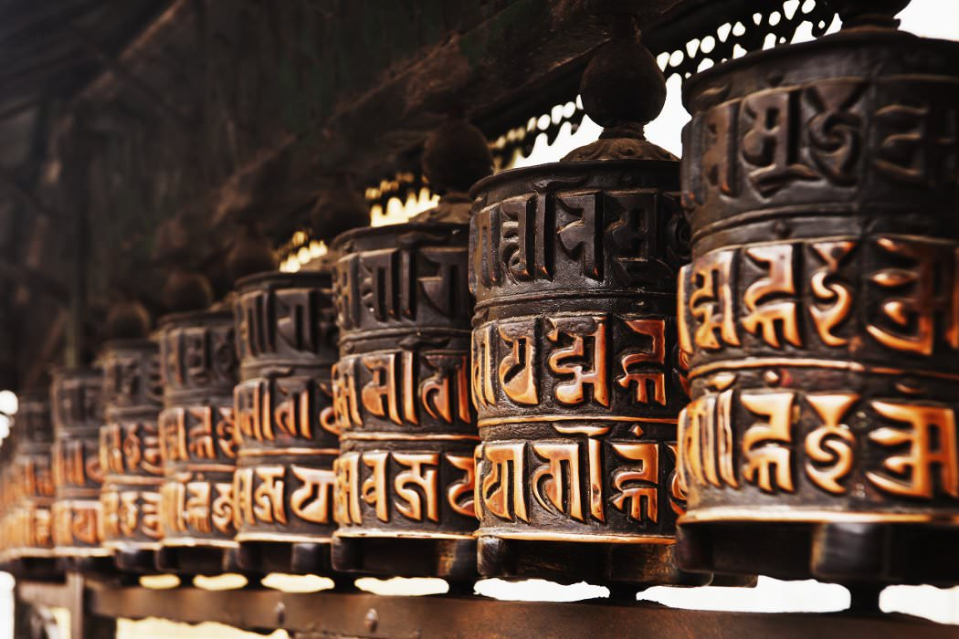 Prayer wheels at Swayambhunath Stupa